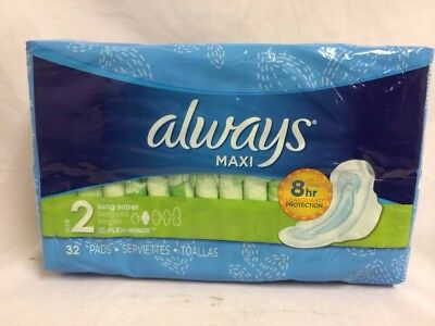 Always Maxi Size 2 Long Super Absorbency 32 Pads With Flexi Wings 8Hr Protection
