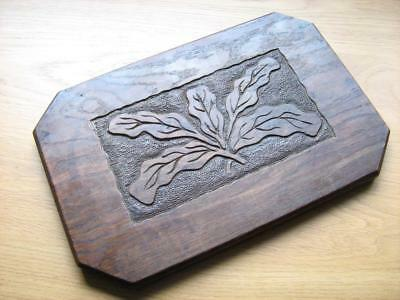 Oak panel carved with oak leaf relief  14 inches by 9 inches plaque