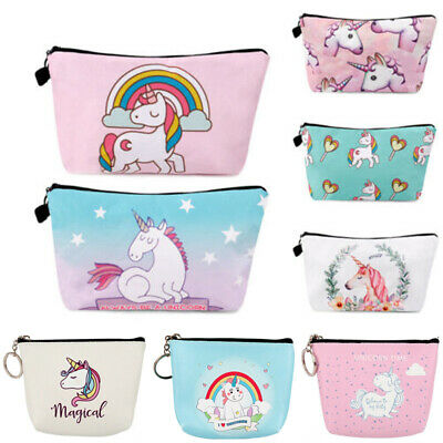 Unicorn Make Up Bag Gift Cosmetic Pencil Case Emoji Travel Girls Women Handbag