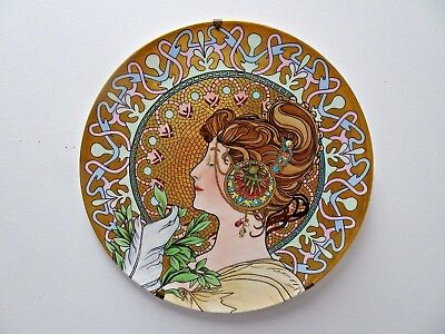 "Exquisite Antique T&V Limoges Alphonse Mucha La Plume 16"" Charger Wall Plaque"
