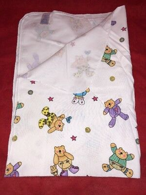 LOT OF 3 Infant Baby Receiving Swaddling Blankets Bear Joy 100% Cotton 30x40