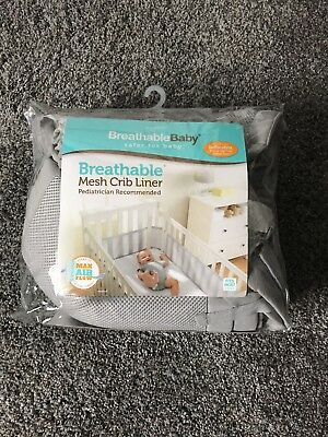 BreathableBaby Breathable Mesh Baby Nursery Crib liner, Gray