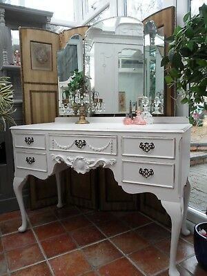 Vintage Painted French Style Dressing Table Triple Mirror Shabby Chic