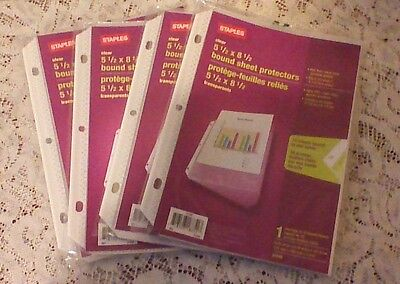 4pks New 23746  Staples 10 Bound Sheet Protectors for Mini Binders 5.5 x 8.5""