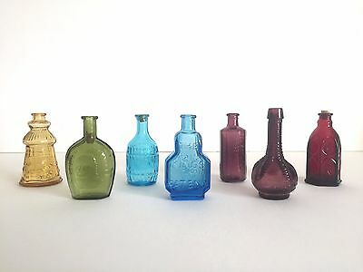 Vintage Miniature Multicolor Glass Bottles - Collection Of 7