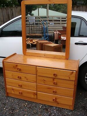Rattan And Pine Dresser Dressing Table, With Mirror, Drawers, Can Deliver