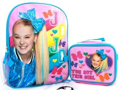 JoJo Siwa Girls School Backpack Lunch Box SET Book Bag Set Children Bow Dream