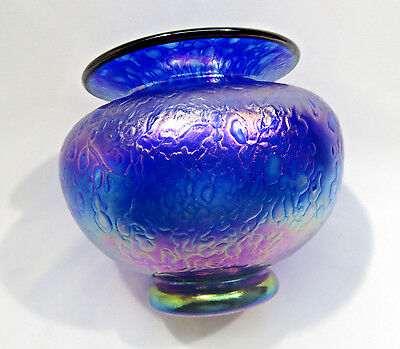 "Iridescent Purple Art Glass Vase 5"" Signed"