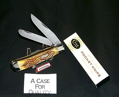 Case XX 5254 Knife USA Rippled Jigged Second Cut Stag Handles W/Packaging,Papers
