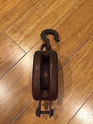 Vintage Antique Small Wood and Cast Iron Pulley  9 x 2.75 x 2""