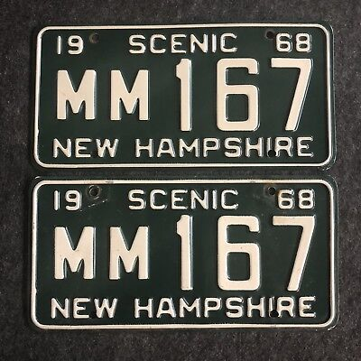 1968 NEW HAMPSHIRE License Plate Tags Pair 68 NH - YOM Clear MM 167