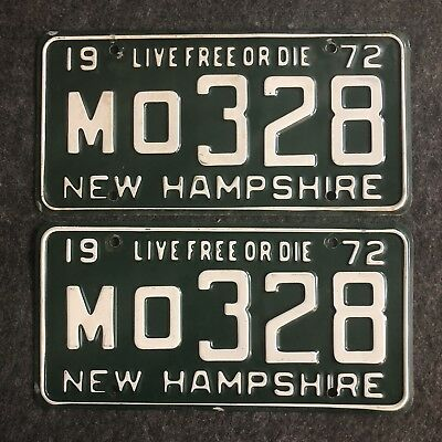 1972 NEW HAMPSHIRE License Plate Tags Pair 72 NH - YOM Clear MO 328