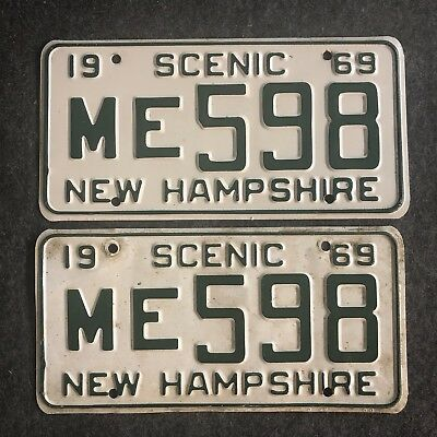 1969 NEW HAMPSHIRE License Plate Tags Pair 69 NH - YOM Clear ME 598