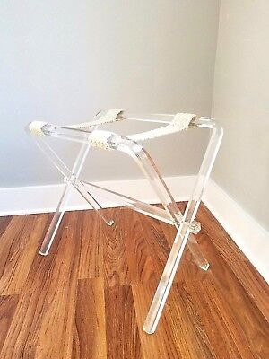 Vintage MCM Mid Century MOD Folding Clear LUCITE Luggage Rack Hollywood Glam