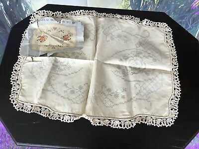 Pure Irish Linen Tray Or Center Cloth To Be Hand Embroidered Undone