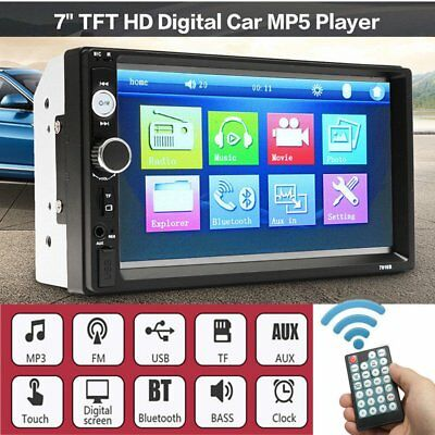 "7"" Car Stereo MP5 Player Double 2Din In Dash Touch Bluetooth Radio Aux ~"