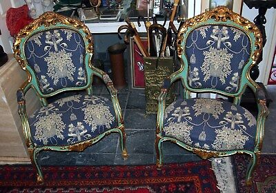 Pair Of Italian Old Arm Chairs Gilt & Gorgeous Upholstery Fine Details H=43""