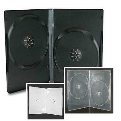 NEW! Super Slim/Thin Double DVD Case 3-pack Lot (7mm) Black-Clear