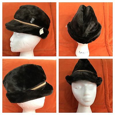 Vintage 1970s Faux Fur Pimp Fedora Hat Small 6 3/4 New Dead Stock Made in USA