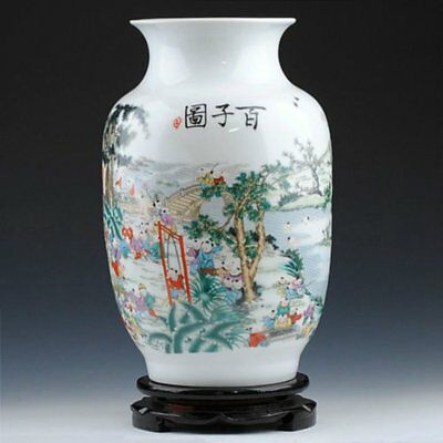 Old China porcelain vase HAND-painted 100 children playing with wood stand