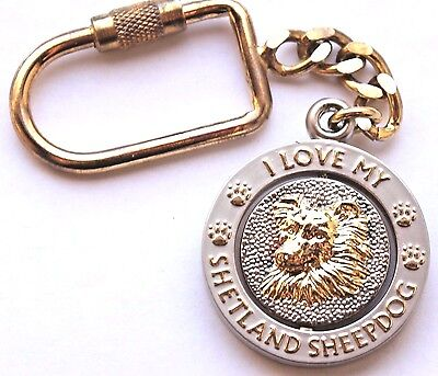 NEW I Love My SHETLAND SHEEPDOG Key Chain Ring or Purse Charm Collectible