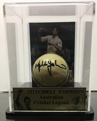 Mitchell Johnson Signed Ball In Display Case
