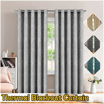 Thermal Blackout Pencil Pleat Pair of Ready Made Tape Top Curtains + 2 Tie Backs