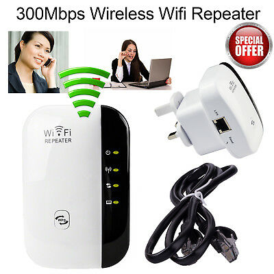 Wireless Wifi Range Extender 300Mbps N 802.11 AP Router Repeater Booster UK Plug