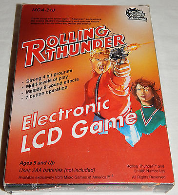 Vintage Rolling Thunder Mga/namco Electronic Lcd Handheld Game In Box/boxed/nos