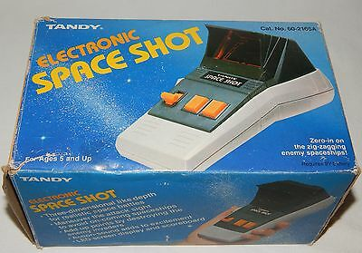 Vintage Tandy Space Shot Electronic Led/lsi Handheld/tabletop Game In Box/boxed