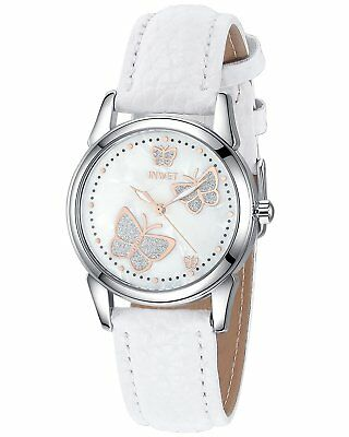 INWET Butterfly Womens Quartz Watch with Mother of Pearl Dial and White Leather