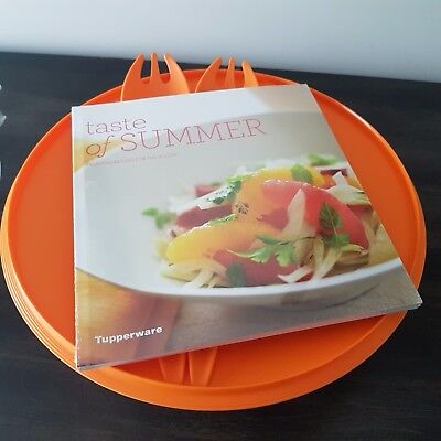 Tupperware Allegra Orange 3.5L Bowl With Cook Book & Salad Servers *new*