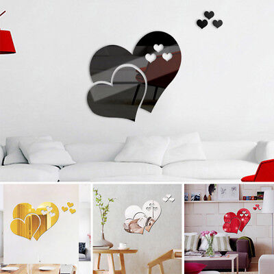 3D DIY Mirror Love Hearts Wall Sticker Home Room Art Mural Decor Removable Decal