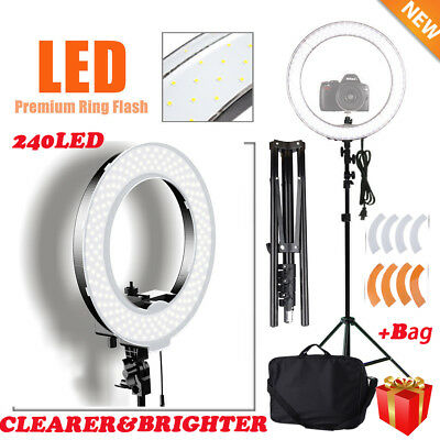"New 240LED 18"" Dimmable Ring LigQC Studio Video Photography Kit +Stand +Case QC"