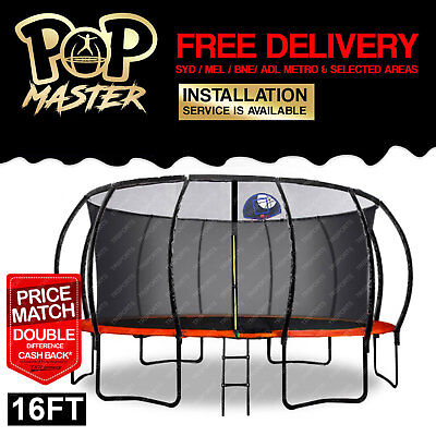 16FT Pop Master Curved Trampoline w/ Basketball Hoop Enclosure Mat - Orange