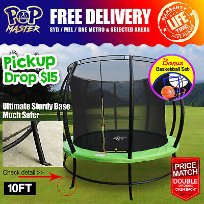 14FT Pop Master Fiberglass Curved Trampoline w/ Basketball Hoop Enclosure Mat