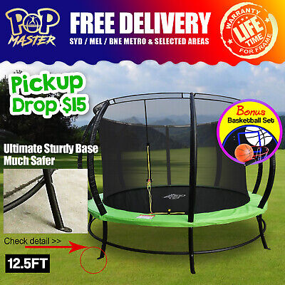 16FT Pop Master Fiberglass Flat Trampoline w/ Basketball Hoop Enclosure Mat Blue