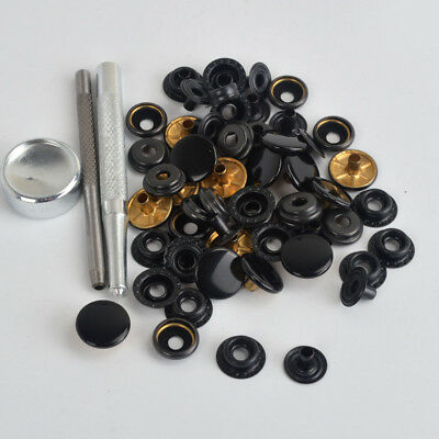 15 Sets 15mm Black Snap Fasteners Press Studs Button Kit Fit Thick Leather Cratf