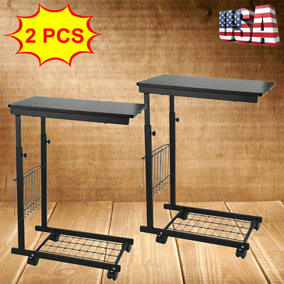 2 PACK Adjustable Rolling Laptop Table Cart Tray Wheels Desk Couch Computer 2018