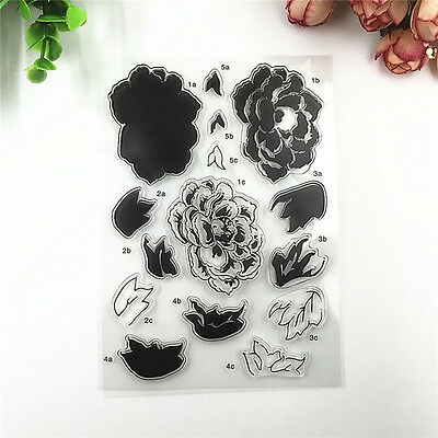 Rose Flower Transparent Clear Silicone Stamp Seal DIY Scrapbooking Photo A UKWJ
