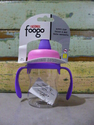 NEW Thermos foogo 235ml sippy cup handles Drink Bottle PINK & PURPLE 6m+