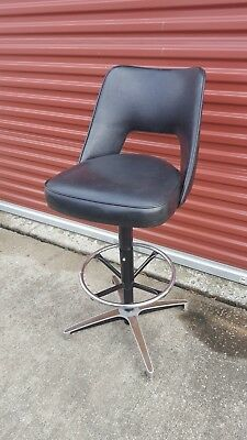 Vintage Retro CHROMCRAFT Black Vinyl Swivel Bar Stool Mid Century Modern Atomic