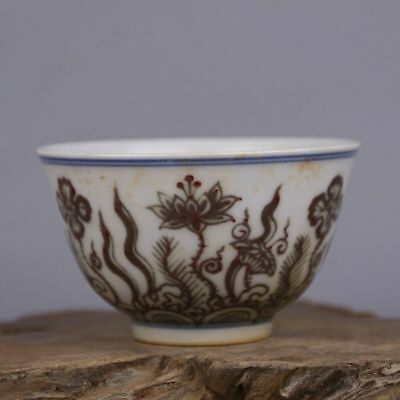 China Antique porcelain hand painted MING ChengHua underglaze red lotus bowl cup
