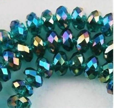 New 4x6mm Faceted Peacock green AB Crystal Beads 100pcs