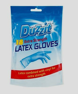 18 Pack Duzzit Latex Rubber Gloves Disposable Vinyl Extra Strong Cleaning(LARGE)