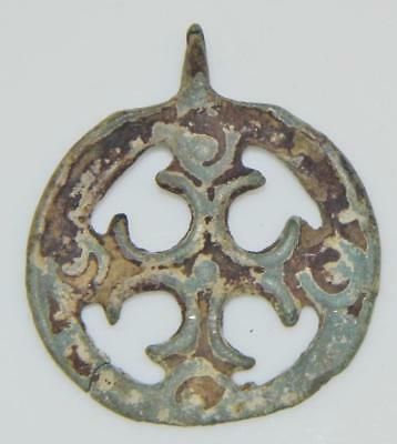 Early Medieval Crusaders Cross in Wheel Ancient Christian cast Bronze Pendant