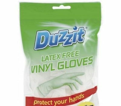 18 Pack Duzzit Disposable Extra Strength Latex Vinyl Gloves Combined Size Large