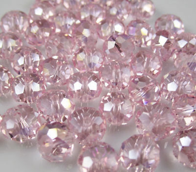 New 6*8mm 70PC Faceted PINK AB Rondelle glass Crystal Beads