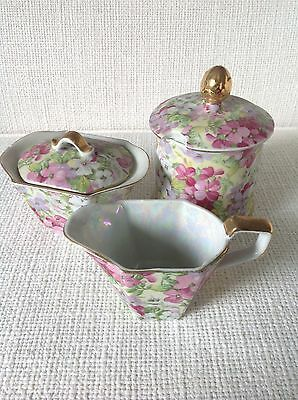 Chintz Shafford Ware Japan Cream and Two Sugar containers