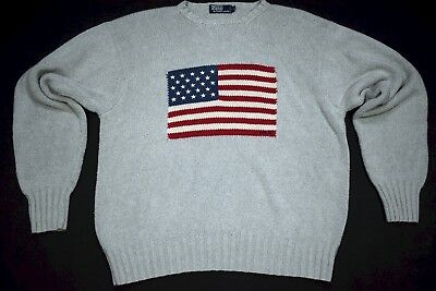 Polo Ralph Lauren Strick Pullover Pulli Sweater Sweatshirt USA Flag Vintage XL